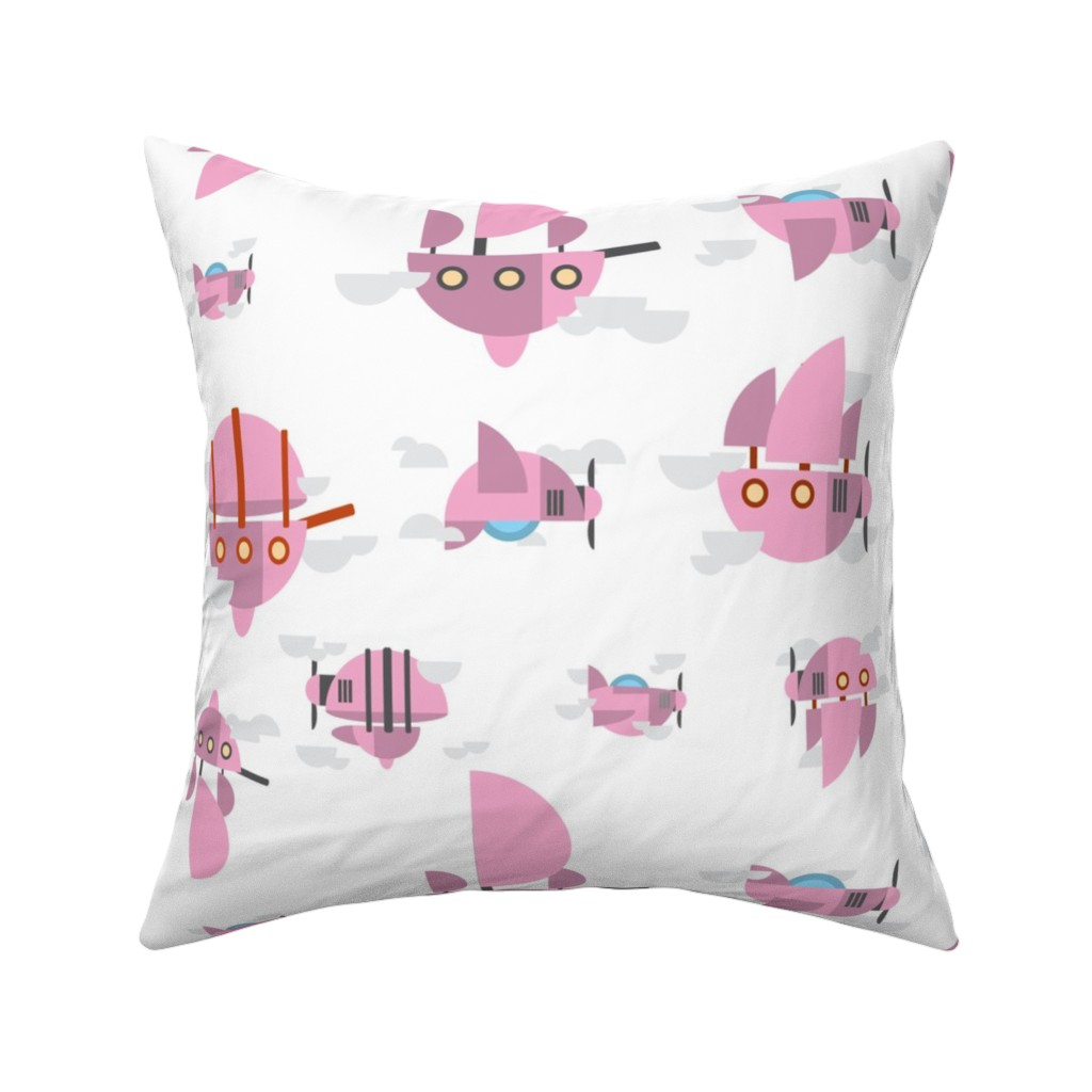 Catalan Throw Pillow featuring Pink - Airships by the_wookiee_workshop