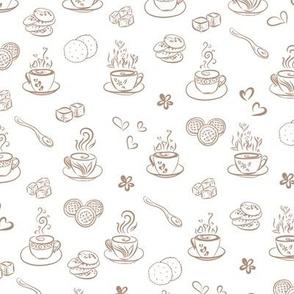 tea time / warm taupe on white