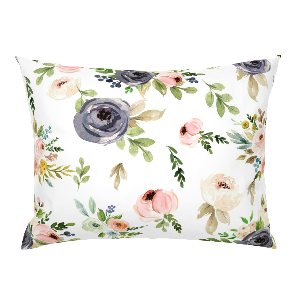 Campine Pillow Sham featuring Watercolor Blush Pink and Greens by hudsondesigncompany