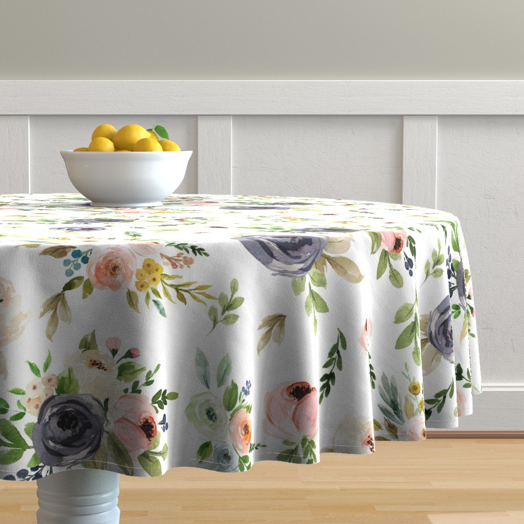 Malay Round Tablecloth featuring Watercolor Blush Pink and Greens by hudsondesigncompany