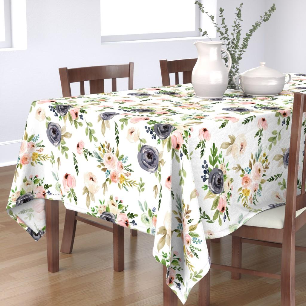 Bantam Rectangular Tablecloth featuring Watercolor Blush Pink and Greens by hudsondesigncompany