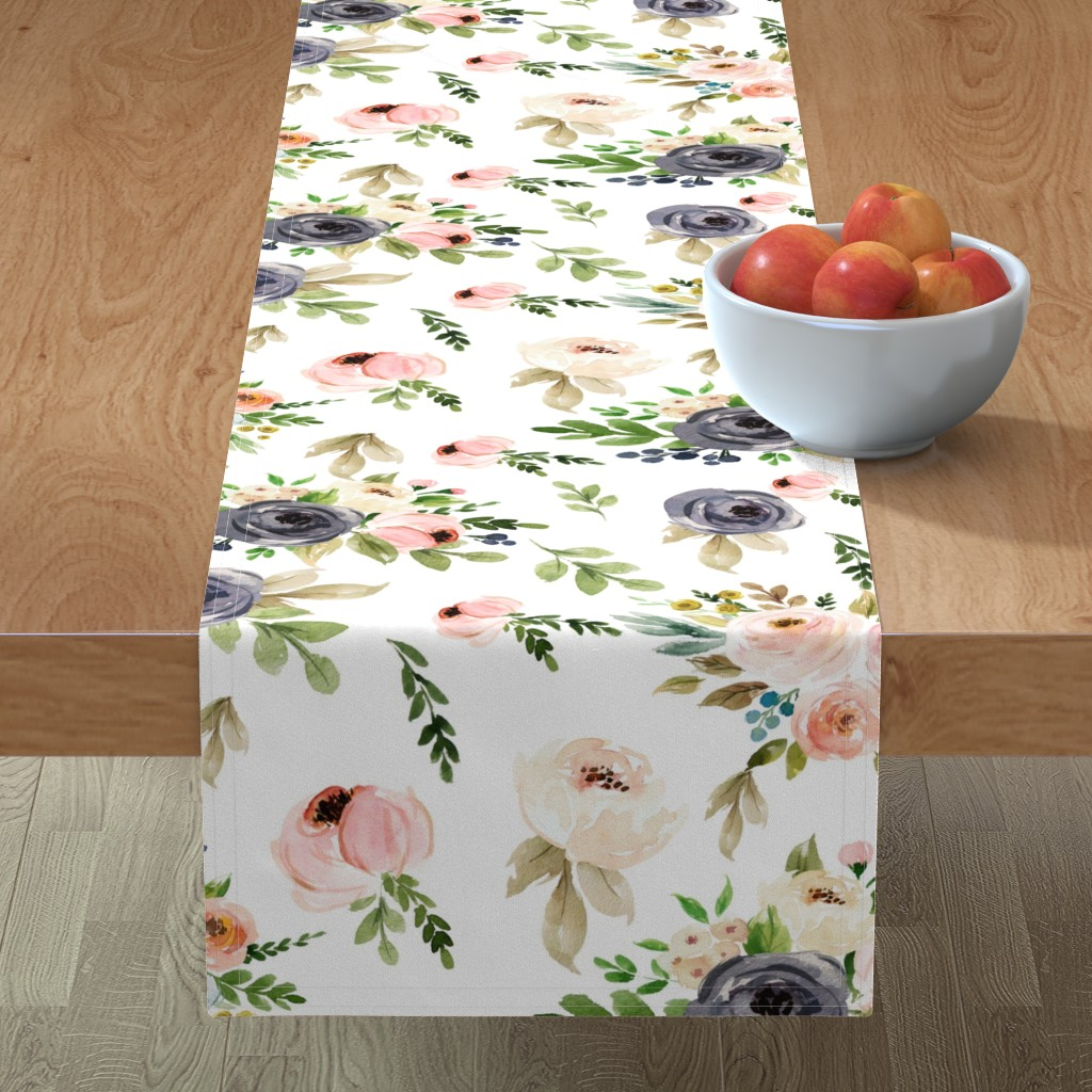Minorca Table Runner featuring Watercolor Blush Pink and Greens by hudsondesigncompany