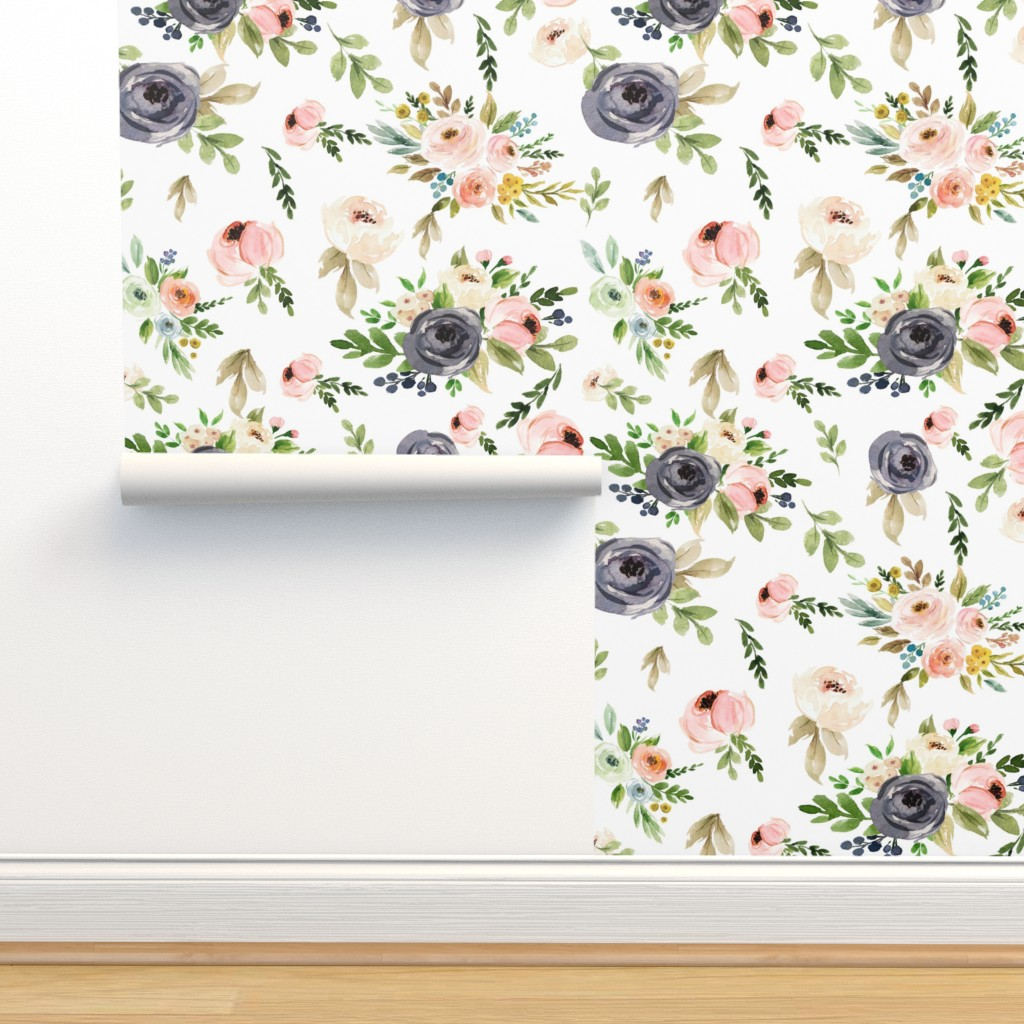 Isobar Durable Wallpaper featuring Watercolor Blush Pink and Greens by hudsondesigncompany