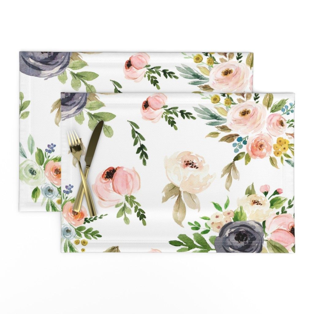 Lamona Cloth Placemats featuring Watercolor Blush Pink and Greens by hudsondesigncompany