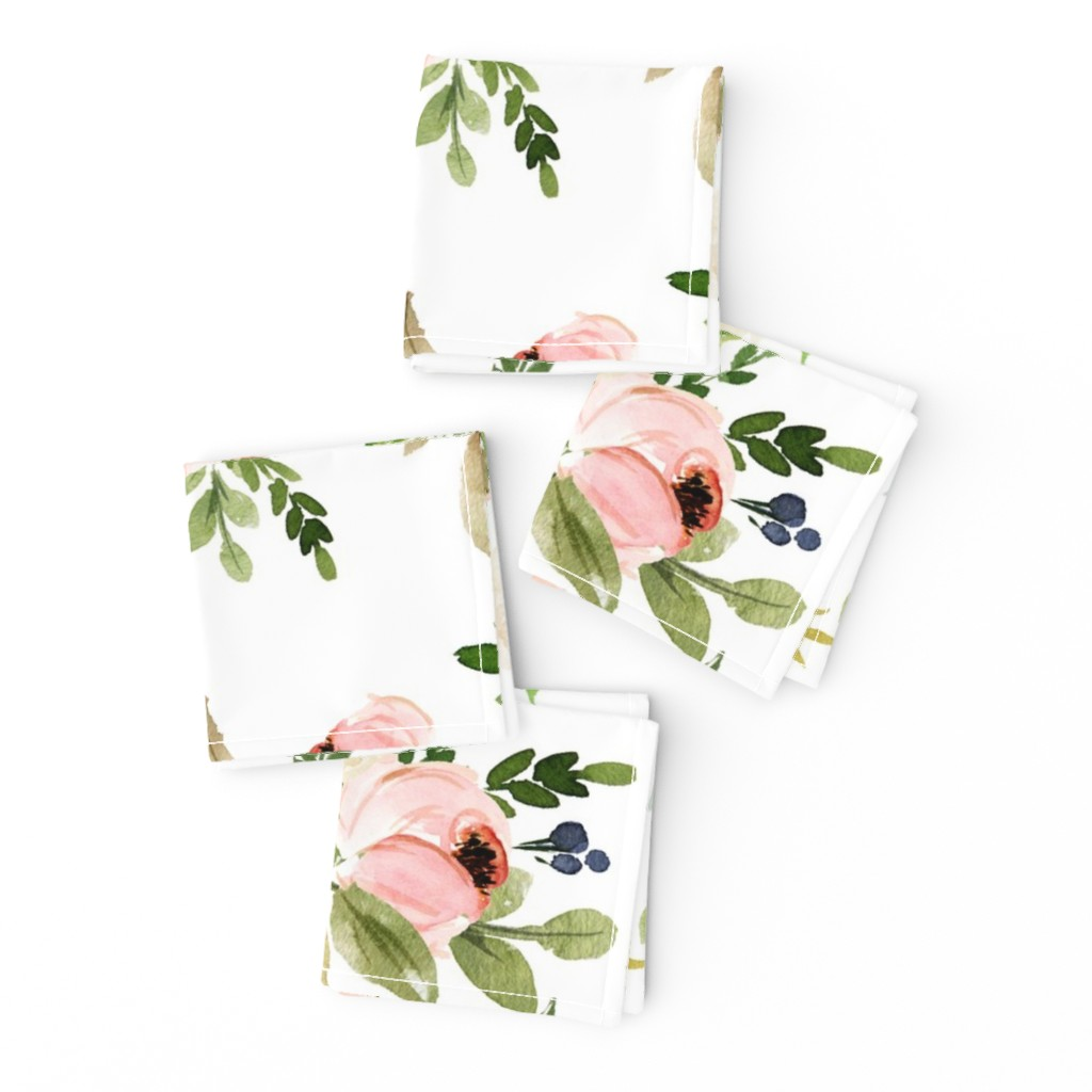 Frizzle Cocktail Napkins featuring Watercolor Blush Pink and Greens by hudsondesigncompany