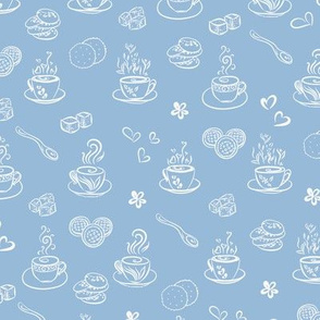 tea time / white on airy blue