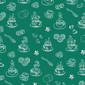 tea time / white on lush meadow