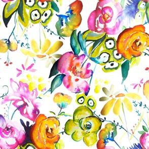 June Garden Watercolor Floral  // LARGE Print