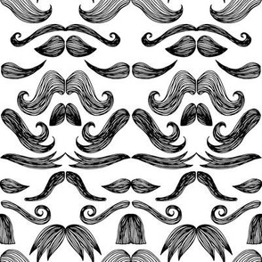 Moustache Mayhem (white)