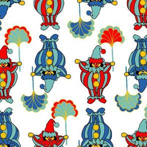 Short Clowns - Red, Blue on White