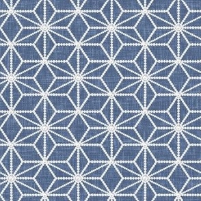 Hemp leaf pattern pearls on denim blue by Su_G_©SuSchaefer