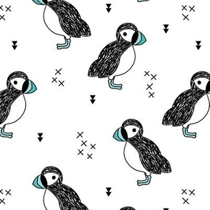 Sweet little puffin bird Scandinavian animals illustration print for kids blue