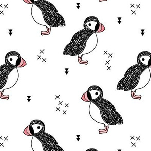 Sweet little puffin bird Scandinavian animals illustration print for kids pink