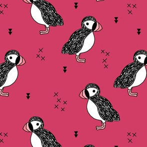 Sweet little puffin bird Scandinavian animals illustration print for kids pink maroon