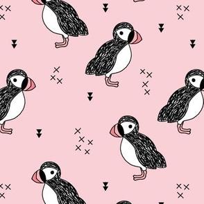 Sweet little puffin bird Scandinavian animals illustration print for kids pink