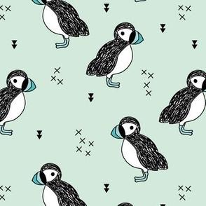 Sweet little puffin bird Scandinavian animals illustration print for kids mint