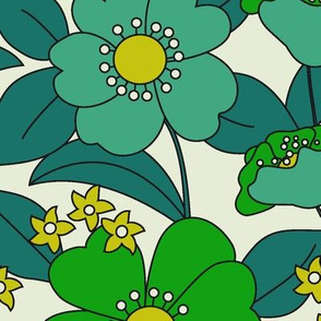 BIG FLOWERS 70s  Greenery