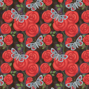 red roses with spider web and rose moth