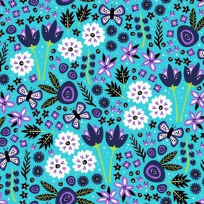 Spring Garden (Light Blue and Purple)