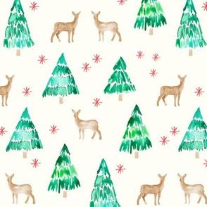 (cream) winter deer - traditional
