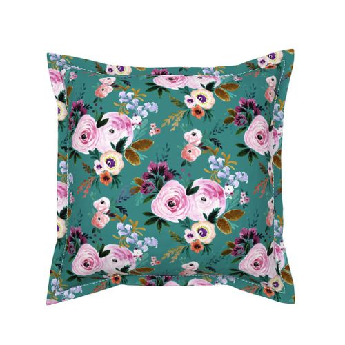 Pink Floral Throw Blanket Watercolor Throw Blanket with Spoonflower Fabric Victoria Floral Teal by crystal/_walen
