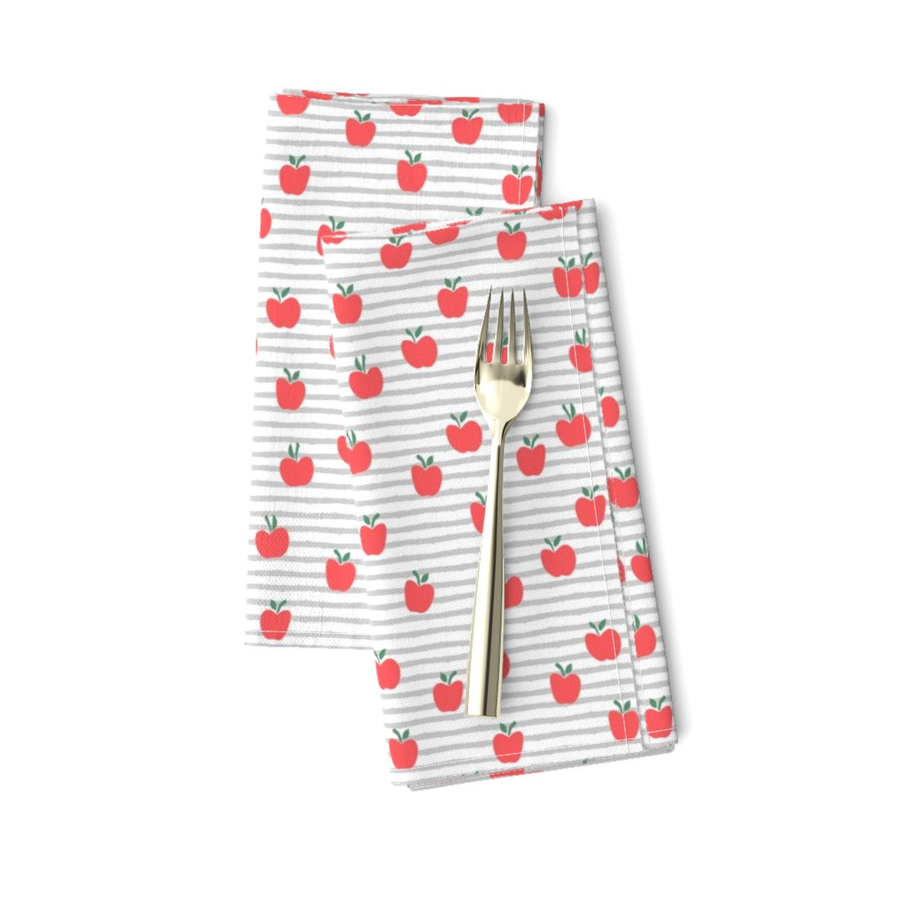 Amarela Dinner Napkins featuring apple picking - grey stripes by littlearrowdesign