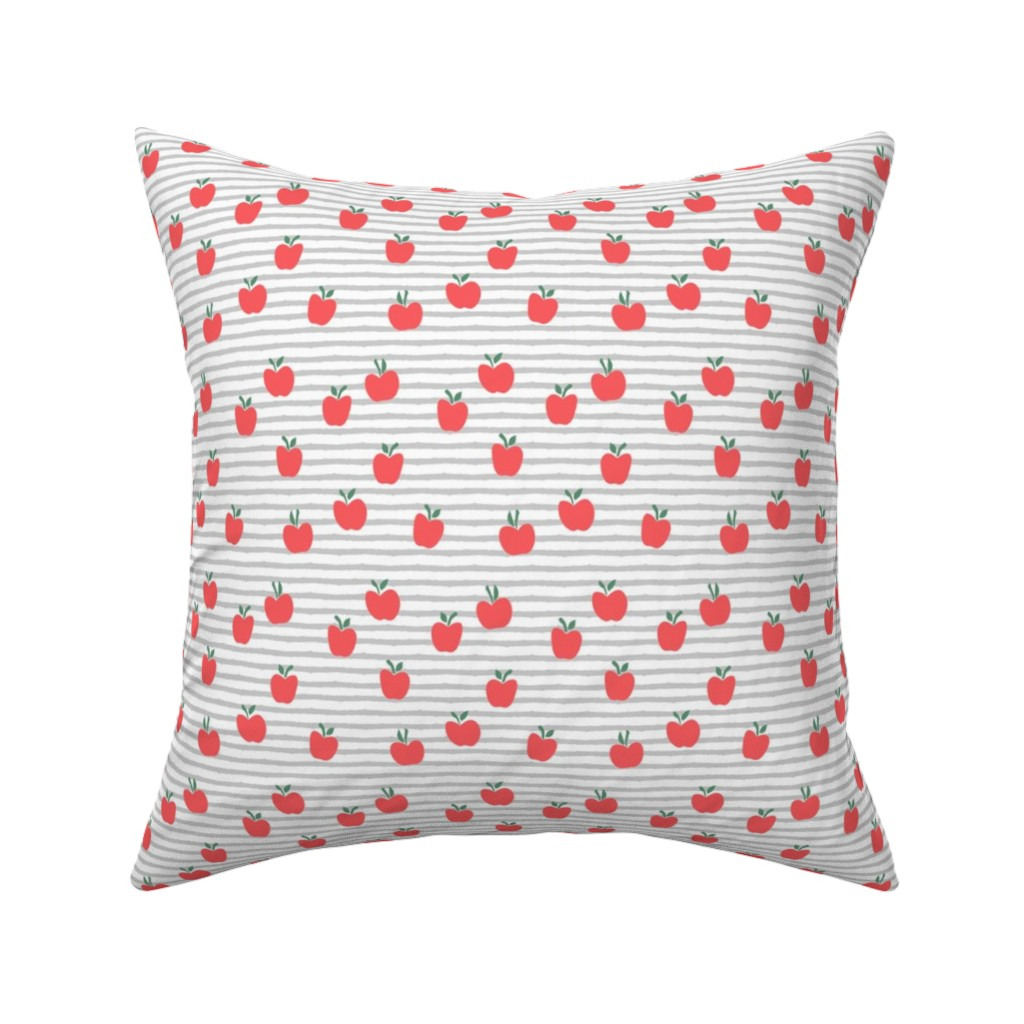 Catalan Throw Pillow featuring apple picking - grey stripes by littlearrowdesign