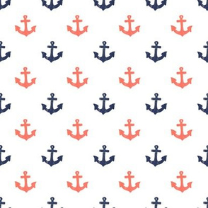Coral and Navy Anchors by Angel Gerardo