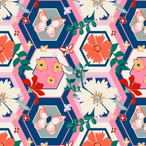 Floral on Navy Two by Angel Gerardo