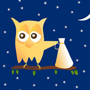 Noisy owl with a loud hailer or a megaphone on a branch with leaves under the Moon and stars|| pajamas t shirt camisole pillows cushions decoration night gown bed sheet