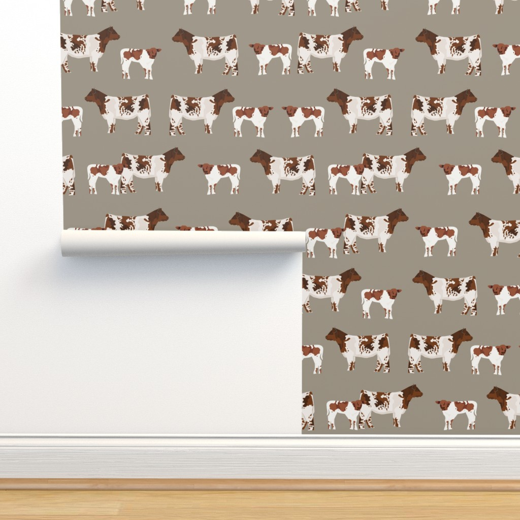 Isobar Durable Wallpaper featuring shorthorn cattle and calf fabric cows fabric - brown by petfriendly