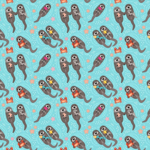 Otters Playing - Aquamarine Background // Small Size