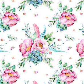 """4"""" Aqua & Pink Floral Print / MIX & MATCH"""