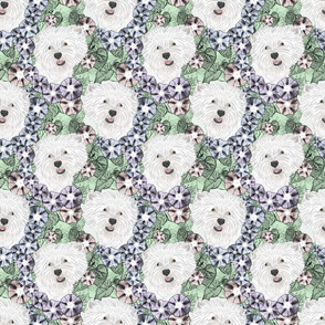 Floral West Highland White Terrier portraits