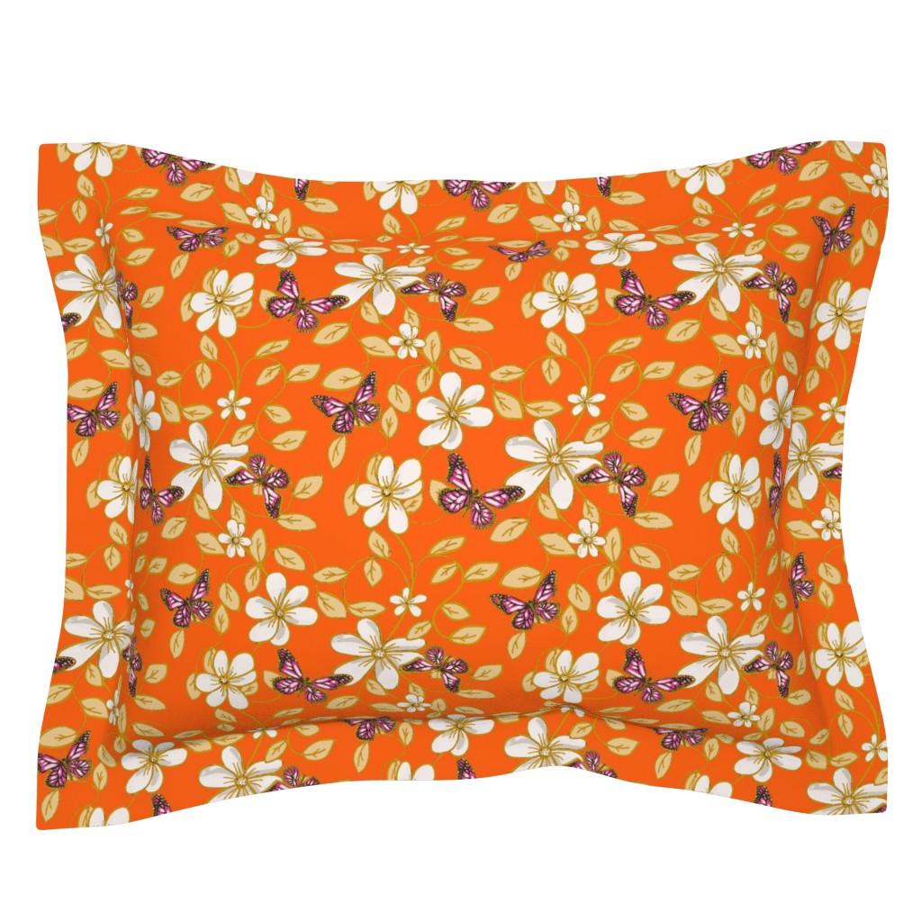Sebright Pillow Sham featuring Flowers & Flutters / Vines & Butterflies  2 on Orange    by franbail