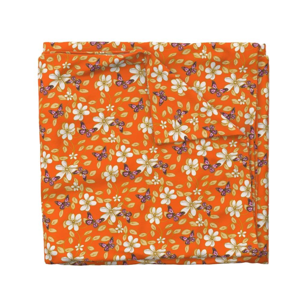 Wyandotte Duvet Cover featuring Flowers & Flutters / Vines & Butterflies  2 on Orange    by franbail