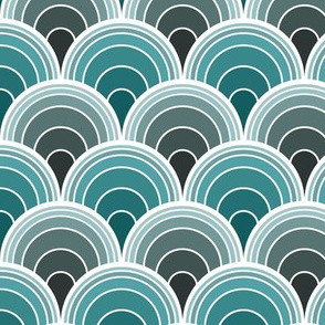 Art Deco Moody Teal Scallop Fans