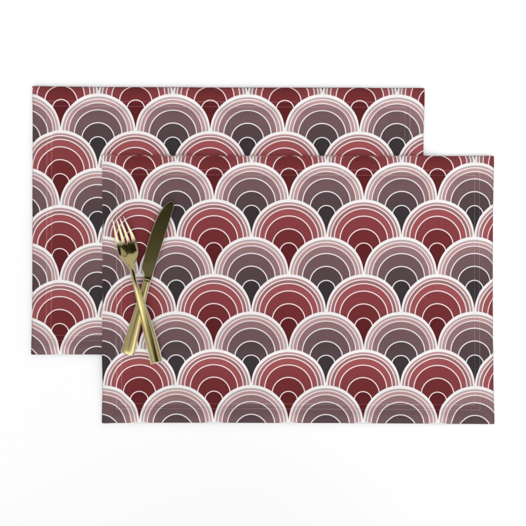 Lamona Cloth Placemats featuring Art Deco Moody Burgundy, Sienna Scallop Fans by suzzincolour