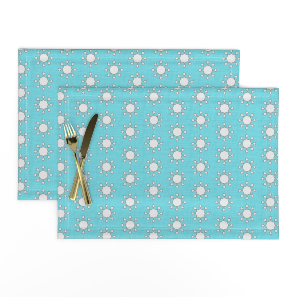Lamona Cloth Placemats featuring little_suns_aqua_linen by holli_zollinger