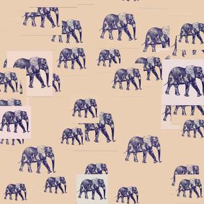 Herd of Elephants Khaki Colored Upholstery Fabric