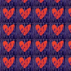 Heartbeat Neon Orange Hearts Upholstery Fabric