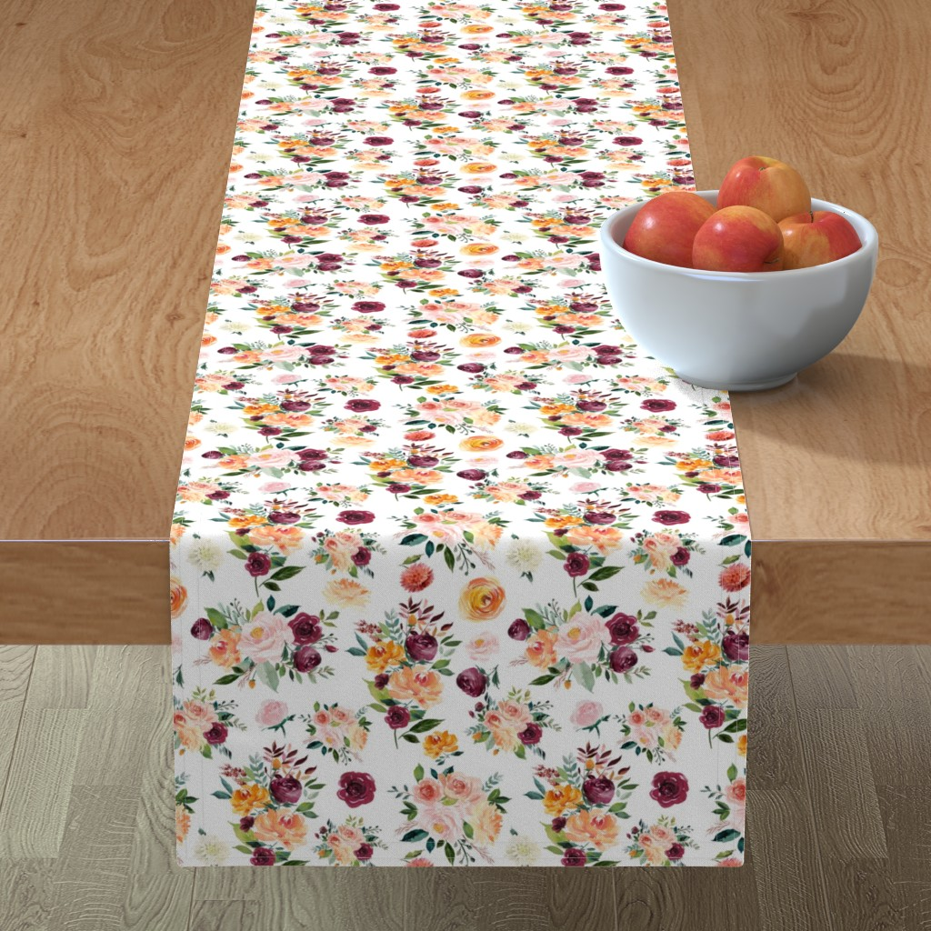 "Minorca Table Runner featuring 9"" Autumn Floral Watercolor by greenmountainfabric"