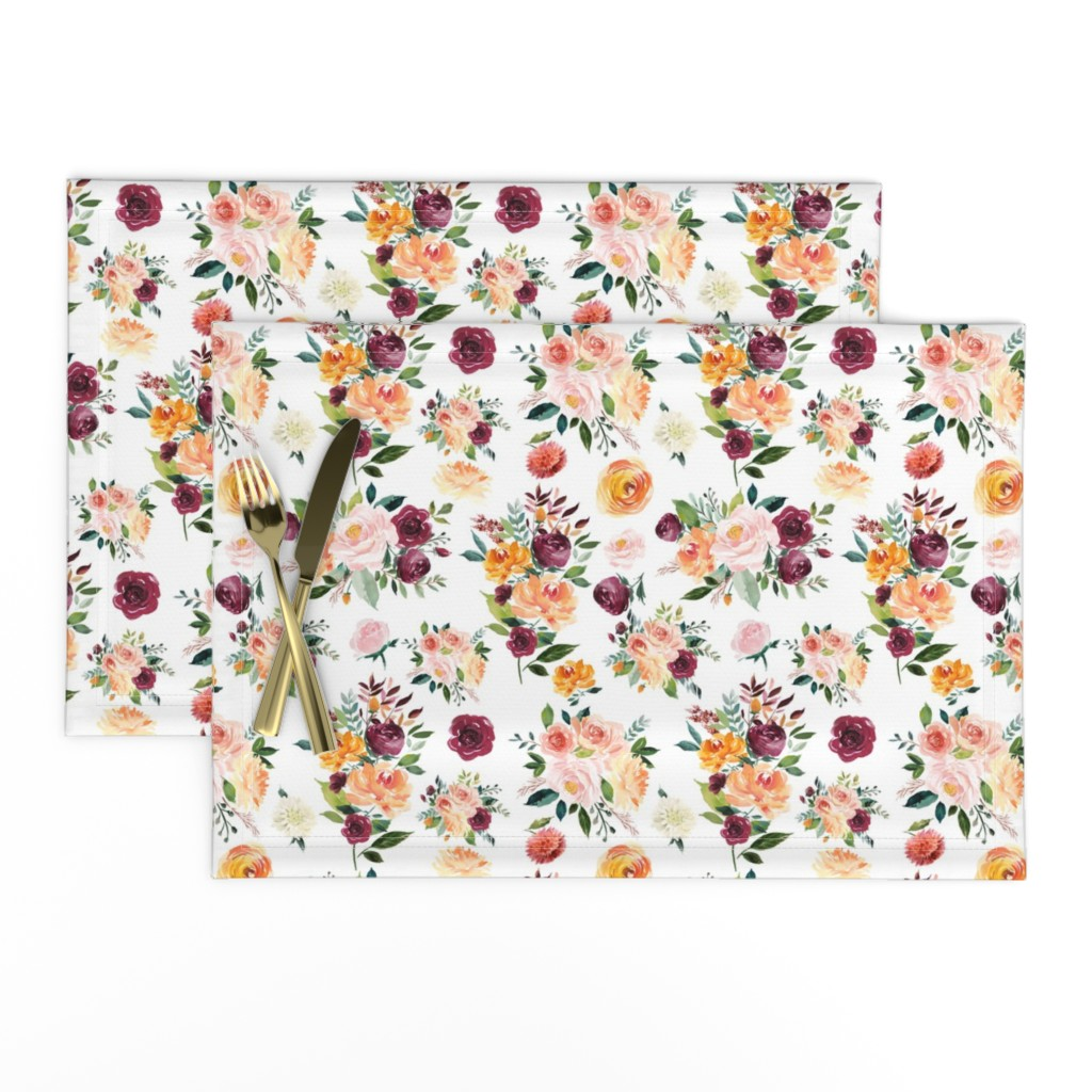 "Lamona Cloth Placemats featuring 9"" Autumn Floral Watercolor by greenmountainfabric"