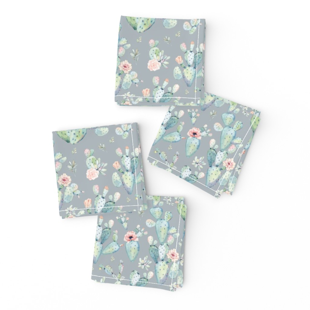 """Frizzle Cocktail Napkins featuring 8"""" Love Dreaming Boho Style Succulents / Grey by shopcabin"""