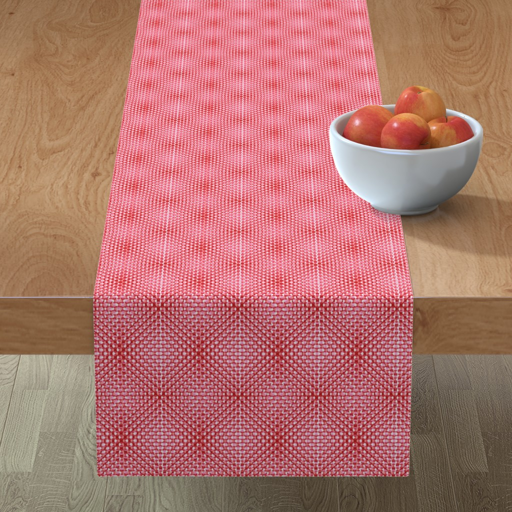 Minorca Table Runner featuring rivet optic in reds by cinneworthington