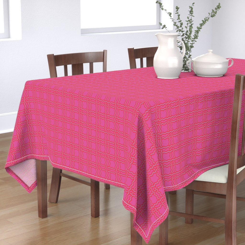 Bantam Rectangular Tablecloth featuring squiggle plaid - pop pink by cinneworthington