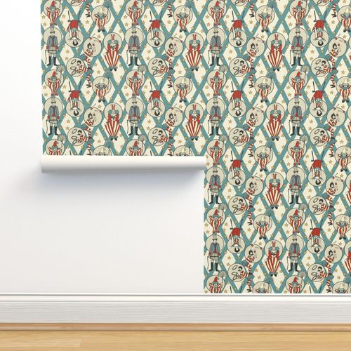 Wallpaper Vintage Circus Performers Vintage Turquoise