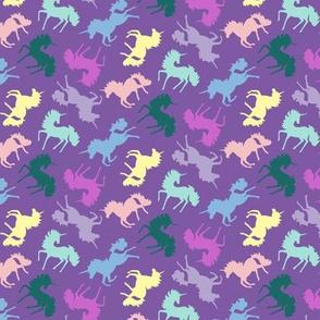 Multi Colored Unicorns on Purple by Angel Gerardo - Small Scale