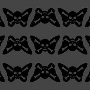 Butterfly Skulls - Grey and Black