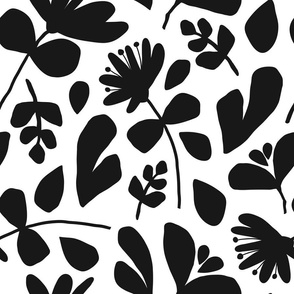 Floral Silhouette JUMBO | Black on White